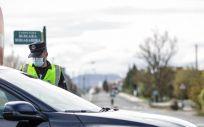 Un agente de la Ertzaintza realiza un control de movilidad. (Iñaki Berasaluce - Europa Press - Archivo)