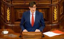 El ministro de Sanidad, Salvador Illa, interviene en el Congreso de los Diputados (Foto: Congreso)