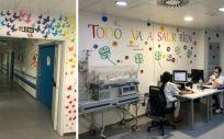 """El Servicio de Obstetricia creó un """"bunker paritorio"""" especialmente decorado que ha permitido a las gestantes dar a luz en un espacio protegido (Foto. HUIE)"""