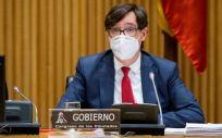 El ministro de Sanidad, Salvador Illa, comparece en la Comisión de Sanidad del Congreso de los Diputados (Foto: Congreso)