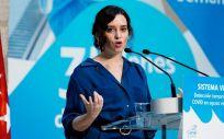 La presidenta de la Comunidad de Madrid, Isabel Díaz Ayuso, durante la presentación del Sistema Vigía (Foto. CAM)