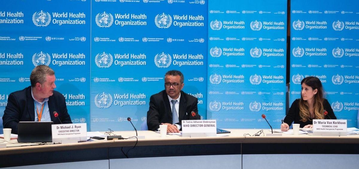 El director general de la Organización Mundial de la Salud, Tedros Adhanom Ghebreyesus, comparece en rueda de prensa para informar sobre la evolución de la pandemia de coronavirus. 18 de marzo de 2020. (Foto. OMS)