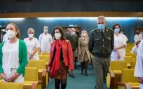 La ministra de Defensa, Margarita Robles, visita el Hospital Central de la Defensa 'Gomez Ulla'. (Foto. Ricardo Pérez / MDE)