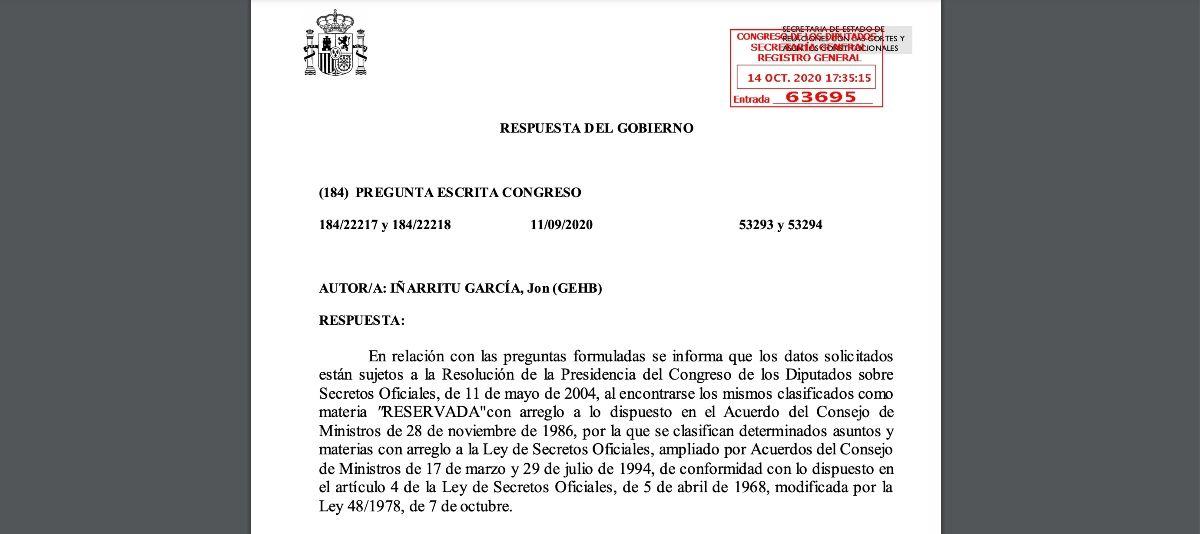 Respuesta del Gobierno a la pregunta parlamentaria de Jon Iñarritu.