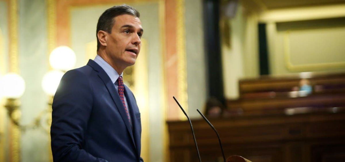 Pedro Sánchez, presidente del Gobierno, durante su intervención en el Congreso de los Diputados (Foto: Congreso)