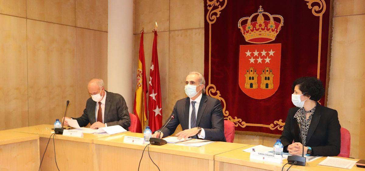 El consejero de Sanidad, Enrique Ruiz Escudero, en la presentación del primer convenio colectivo (Foto. Comunidad de Madrid)