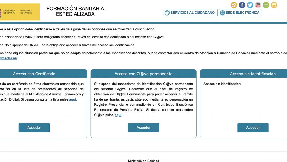 Página web del Ministerio de Sanidad para el acceso a la convocatoria de las pruebas de FSE.