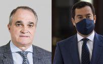 Antonio Mingorance, presidente de Cacof y vicepresidente de Bidafarma y Juan Manuel Moreno, presidente de la Junta e Andalucía (Foto. Fedifar/EP)