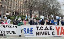 Concentración de los técnicos sanitarios de Navarra (Foto. ConSalud)