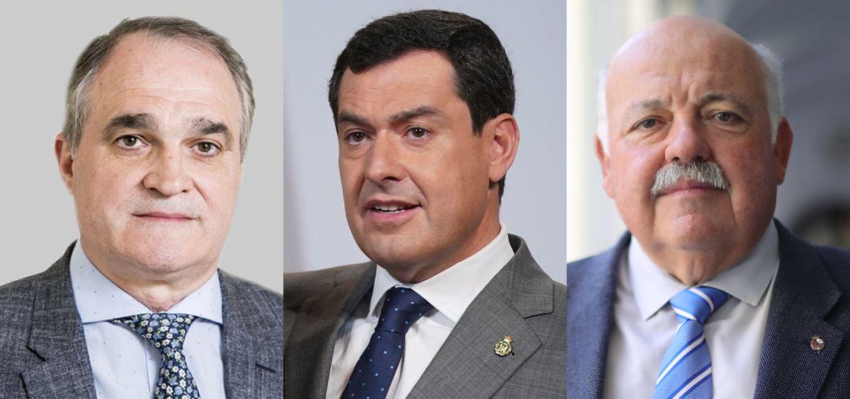Antonio Mingorance, Juanma Moreno Bonilla y Jesús Aguirre. (Fotomontaje ConSalud.es)