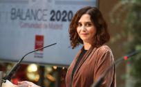 La presidenta de la Comunidad de Madrid, Isabel Díaz Ayuso, durante una rueda de prensa tras mantener el último Consejo de Gobierno del año, a 29 de diciembre de 2020 (Foto: Ricardo Rubio - Europa Press)
