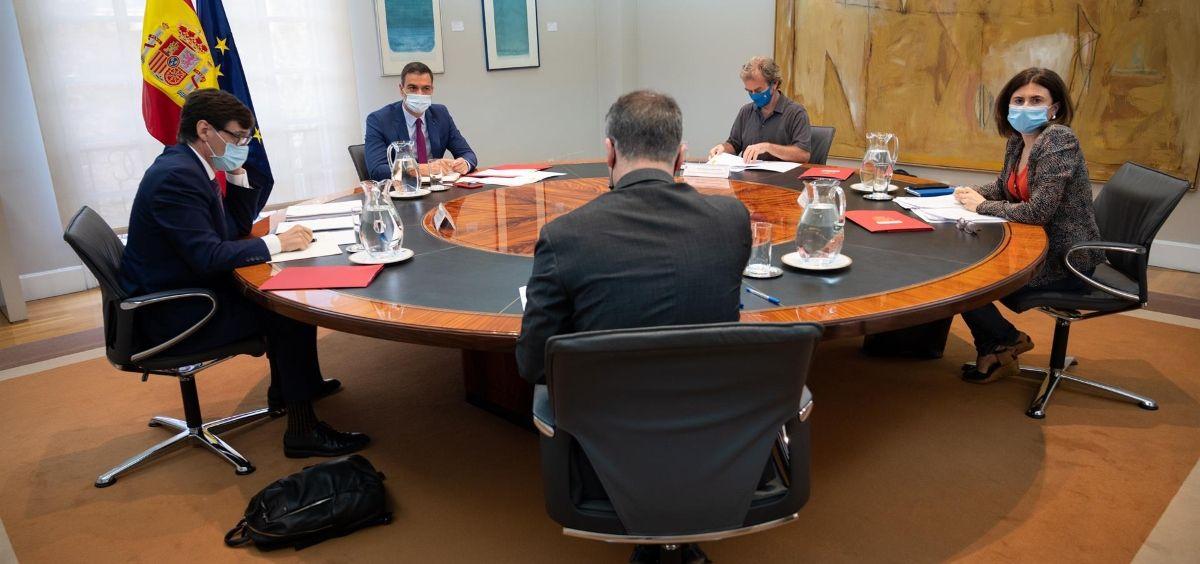 Imagen de archivo de Sánchez, Illa, Simón y Sierra reunidos para evaluar la situación de la Covid 19. (Foto. Moncloa)