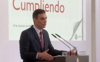 Pedro Sánchez, durante la presentación del informe de rendición de cuentas. Foto: Pool Moncloa/Borja Puig de la Bellacasa, JM Cuadrado y Fernando Calvo