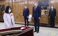 Carolina Darias, durante su toma de posesión como ministra de Sanidad (Foto: @CasaReal)
