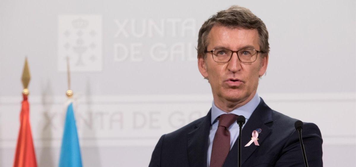 El presidente de la Xunta, Alberto Núñez Feijóo, en rueda de prensa tras el Consello de la Xunta.  (Foto. ANA VARELA / XUNTA)
