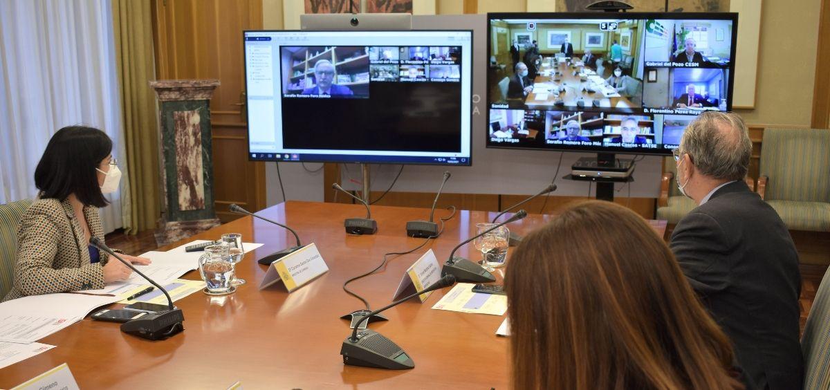 Instantánea de la reunión entre Carolina Darias y su equipo con el Foro Profesional. (Foto. @SanidadGob)