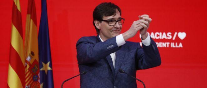 Salvador Illa, candidato del PSC a la Generalitat, durante la noche electoral (Foto: PSC)