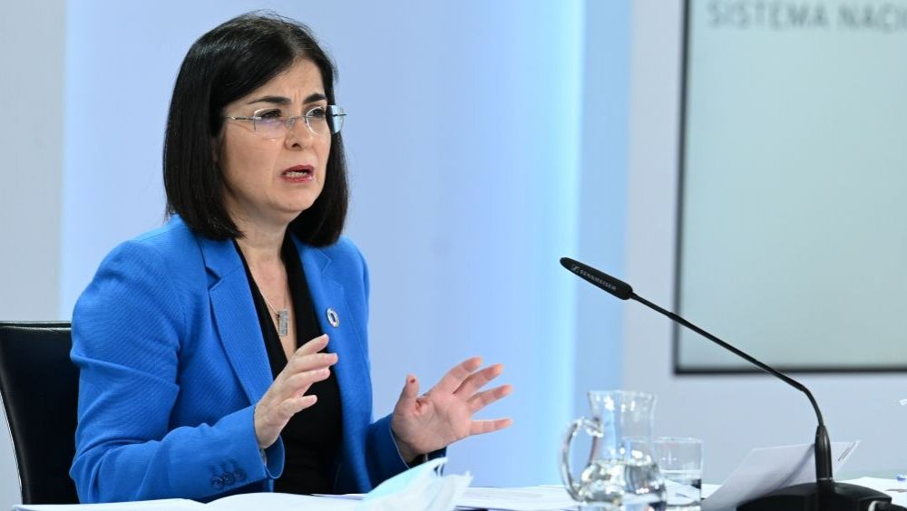 La ministra de Sanidad, Carolina Darias, en rueda de prensa (Foto: Pool Moncloa / Borja Puig de la Bellacasa)