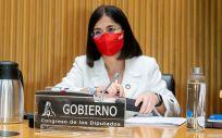 La ministra de Sanidad, Carolina Darias, interviene en la Comisión de Sanidad (Foto: Congreso)