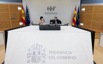 La ministra de Sanidad, Carolina Darias; y el ministro de Política Territorial, Miquel Iceta, en el Consejo Interterritorial del SNS (Foto. Pool Moncloa / Borja Puig de la Bellacasa)