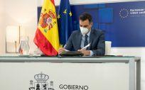 El presidente del Gobierno, Pedro Sánchez, en su participación en el Consejo Europeo (Foto. Pool Moncloa/Borja Puig de la Bellacasa)