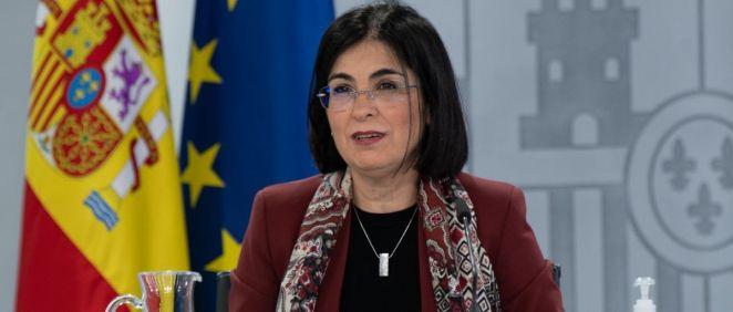 Carolina Darias, ministra de Sanidad, en rueda de prensa tras el Consejo Interterritorial (Foto: Pool Moncloa / Borja Puig de la Bellacasa)