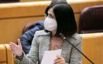 Carolina Darias, ministra de Sanidad, interviniendo en el Senado (Foto: PSOE)