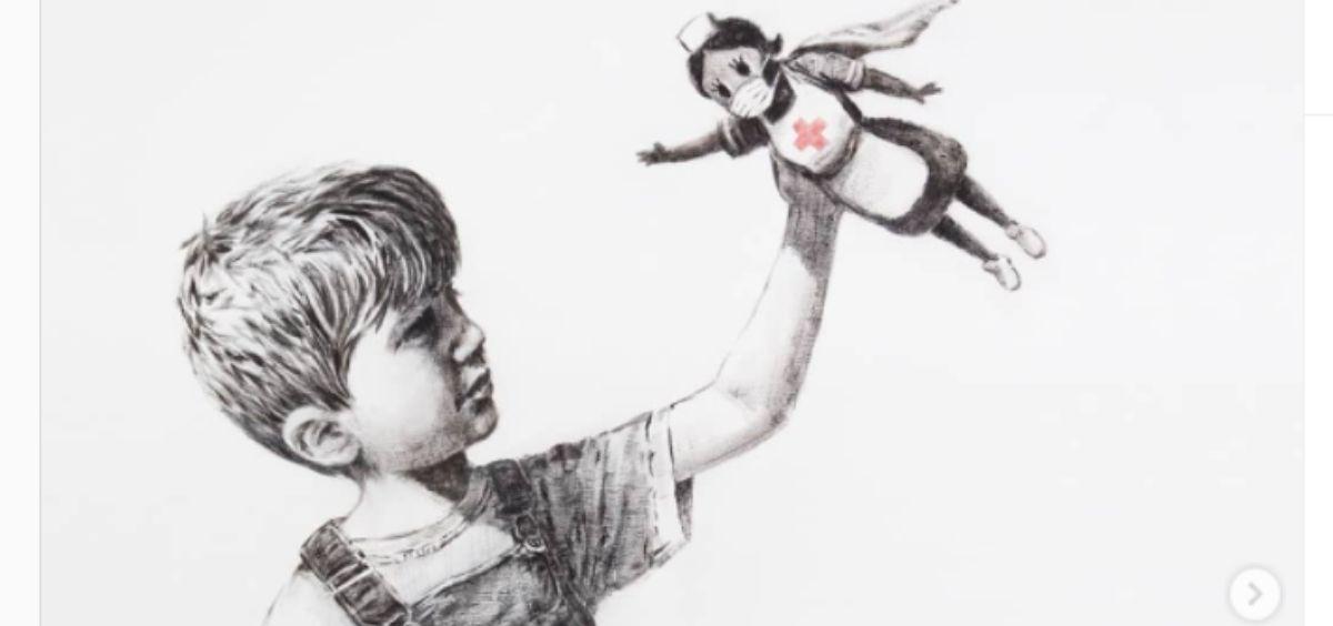 Obra de Bansky en honor a los sanitarios (Foto. @Banksy)