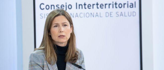 María Jesús Lamas, directora de la AEMPS, en rueda de prensa (Foto: Pool Moncloa / Borja Puig de la Bellacasa)
