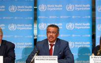 El director del Programa de Emergencias de la OMS, Mike Ryan; el director de la OMS, Tedros Adhanom Ghebreyesus y la epidemióloga de la OMS, Maria Van Kerkhove (Foto. WHO)
