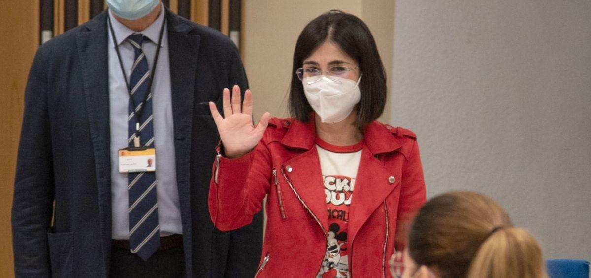 La Ministra de Sanidad, Carolina Darias, durante su visita en la jornada de examen MIR (Foto. Miguel Ángel Escobar   ConSalud.es)