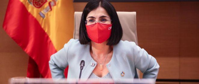 La ministra de Sanidad, Carolina Darias, en la Comisión de Sanidad del Congreso este 25 de marzo (Foto.  EUROPA PRESSR.Rubio.POOL )