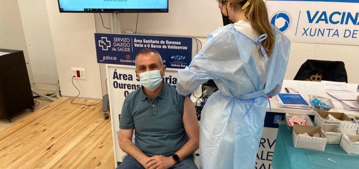 Vacunación contra la Covid 19 a personal del centro penitenciario de Ourense, en Pereiro de Aguiar. (Foto.@IIPPGob)