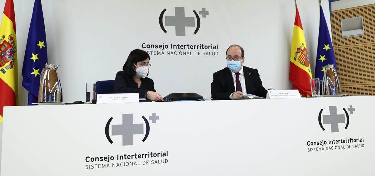 Carolina Darias junto a Miguel Iceta durante el Consejo Interterritorial del Sistema de Salud. (Foto. Pool Moncloa. Fernando Calvo)