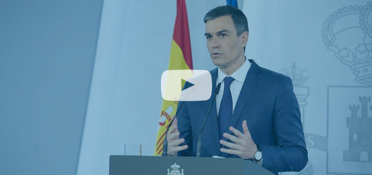 El presidente del Gobierno, Pedro Sánchez, en rueda de prensa (Foto. Pool Moncloa/Borja Puig de la Bellacasa)