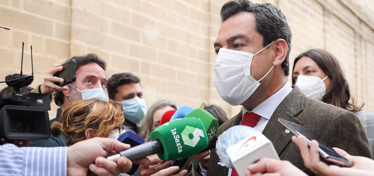 Juanma Moreno, este jueves (Foto. EUROPA PRESS)