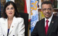 Carolina Darias, ministra de Sanidad, y Tedros Adhanom, director general de la OMS (Montaje: ConSalud)