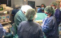 Primera operación de una placenta accreta en quirófano híbrido (Foto. Vall d´hebrón)