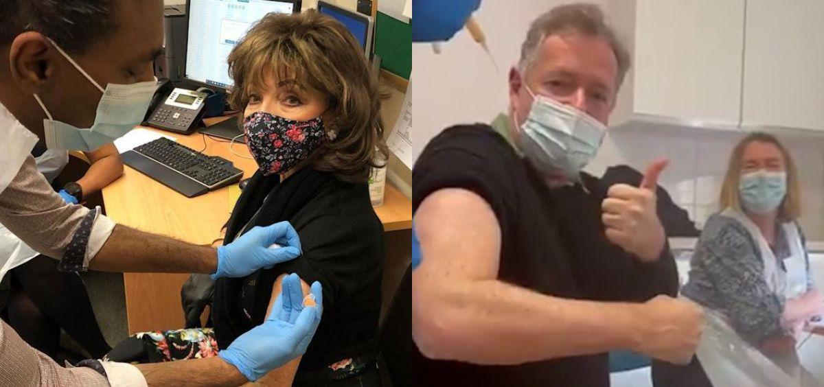 La actriz Joan Collins y el presentador Piers Morgan, entre los últimos famosos vacunados con AstraZeneca