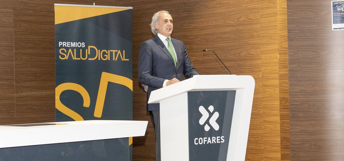 El consejero de Sanidad de la Comunidad de Madrid, Enrique Ruiz Escudero, durante su intervención (Foto: Óscar Frutos)