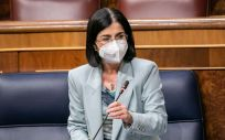 Carolina Darias, ministra de Sanidad, interviniendo en el Congreso de los Diputados (Foto: PSOE)