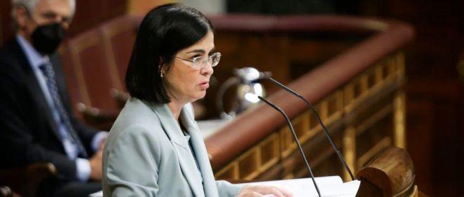 Carolina Darias, ministra de Sanidad, desde la tribuna del Congreso de los Diputados (Foto: PSOE)