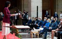 Isabel Díaz Ayuso, presidenta madrileña, en la toma de posesión de su Gobierno (Foto: CAM)
