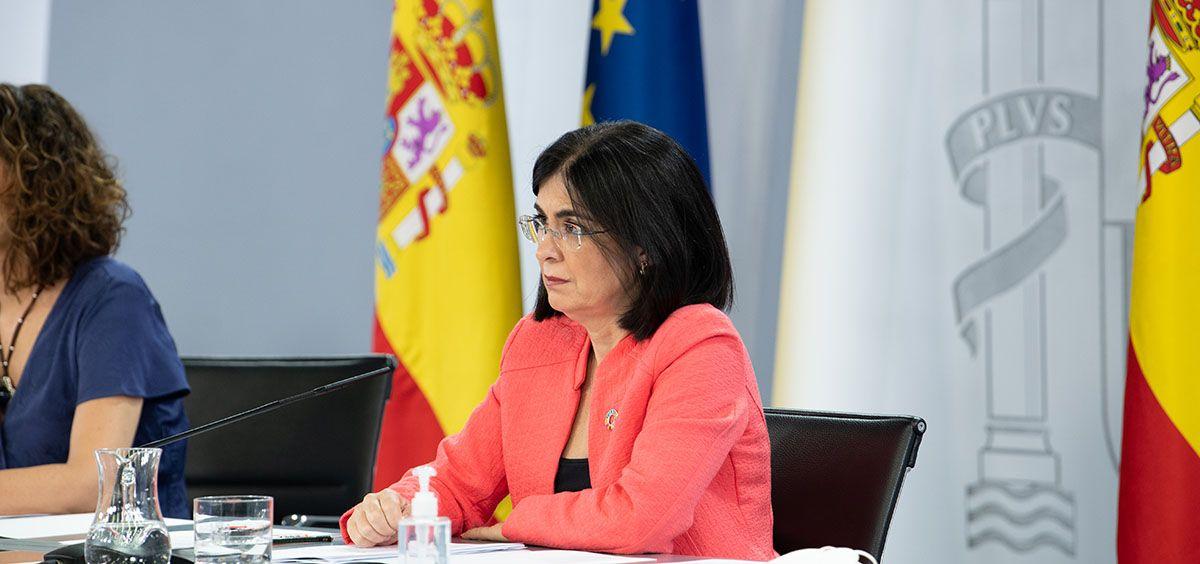 La ministra de Sanidad, Carolina Darias, en la rueda de prensa posterior al Consejo de Ministros. (Foto. Pool Moncloa. Borja Puig de la Bellacasa)