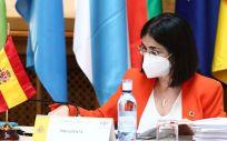 La ministra de Sanidad, Carolina Darias, en el Consejo Interterritorial del Sistema Nacional de Salud