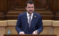 El presidente de la Generalitat, Pere Aragonès, en su comparecencia en el pleno del Parlament de Cataluña. (Foto Europa Press)
