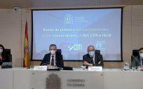 Raquel Yotti (ISCIII); el ministro de Ciencia e Innovación, Pedro Duque; Enrique Playán (AEI); y Javier Ponce (CDTI), en la rueda de prensa de este miércoles para presentar las convocatorias de las tres agencias (Foto. AEI)