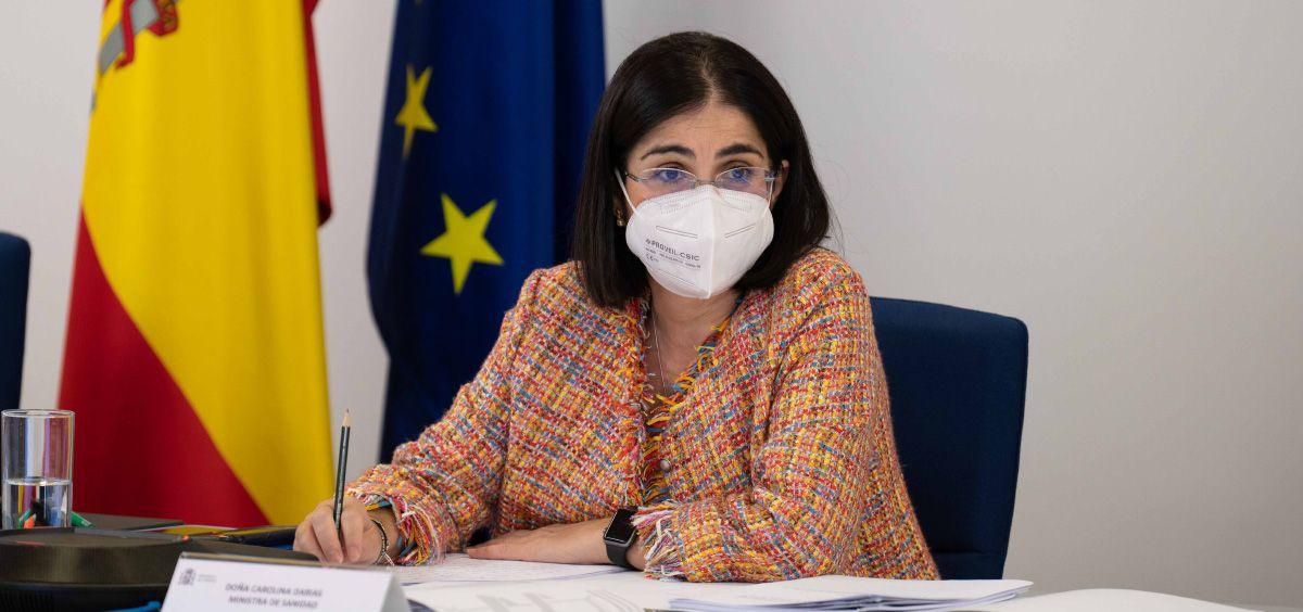 La ministra de Sanidad, Carolina Darias, durante la celebración Consejo Interterritorial del Sistema Nacional de Salud (Foto. Pool Moncloa/Borja Puig de la Bellacasa)