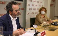 La presidenta del CSIC, Rosa Menéndez, y el presidente del Comité de Ética del CSIC, Lluis Montoliu, durante la rueda de prensa de la presentación del nuevo Código de Buenas Prácticas (Foto. CSIC César Hernández)