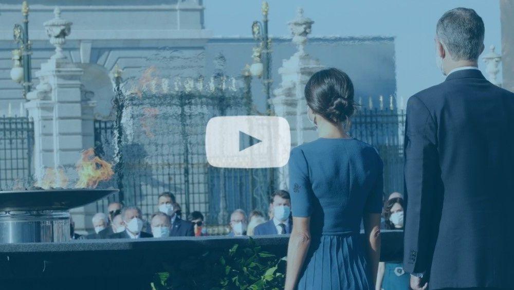 Los Reyes, Felipe VI y Letizia, durante el homenaje de Estado a las víctimas del Covid-19 (Foto: Casa Real / ConSalud)